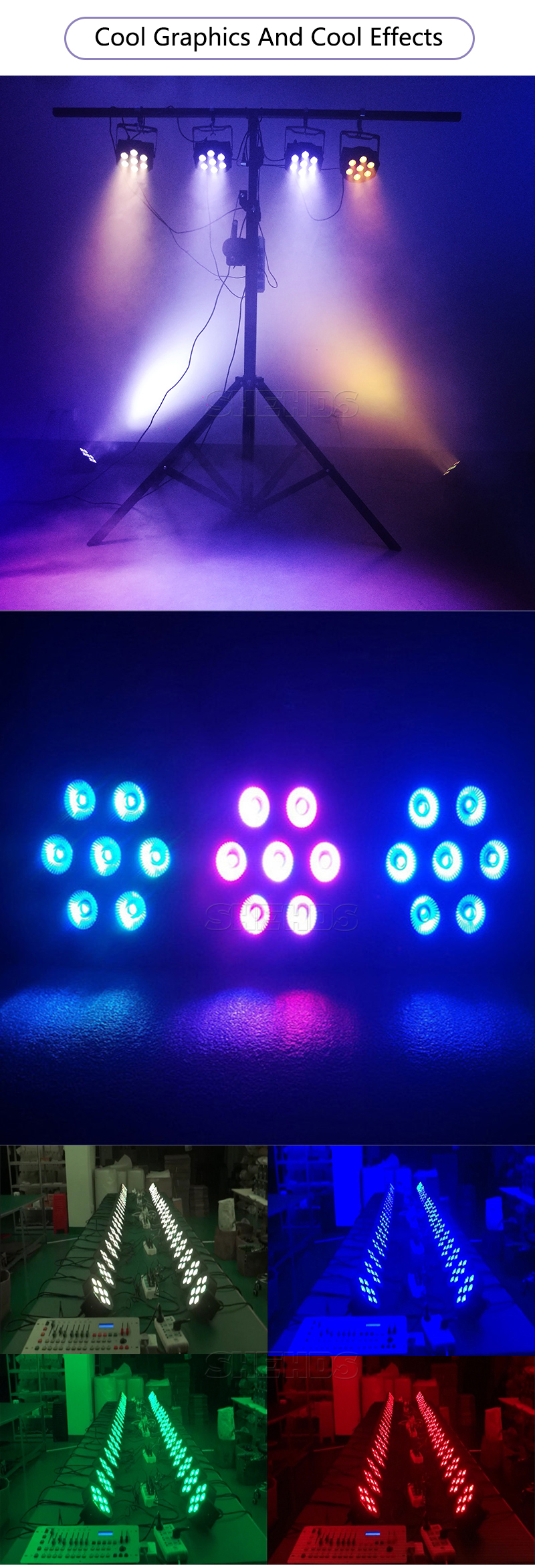 rgbwa + uv, 7x12w, 54x3w, 12x3w, mini holofote de led 10w, 1 peça