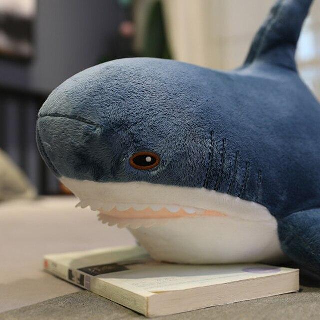1 sztuk ins 15-140cm Shark pluszowe zabawki poduszka do spania podróży towarzysz zabawki prezent Shark urocze wypchane zwierzę ryby poduszka wisiorek zabawki
