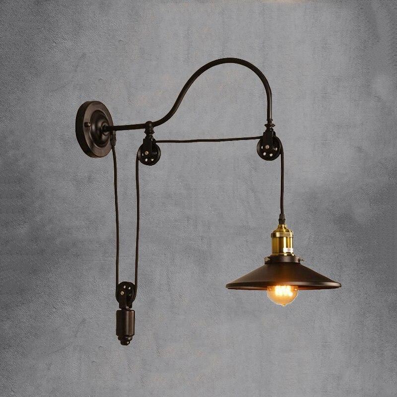 Industry Vintage Retro Loft Wall Lamp Home Goddess Adjustable Iron Pulley Light For Bedroom Restaurant Corridor Cafe Bra Sconce