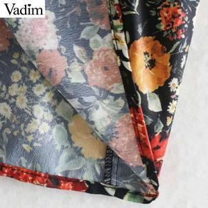 Image 5 - Vadim ผู้หญิงวินเทจดอกไม้พิมพ์ Midi ชุด V คอยาวหญิงแฟชั่นชุดลำลองลำลอง vestidos QD106