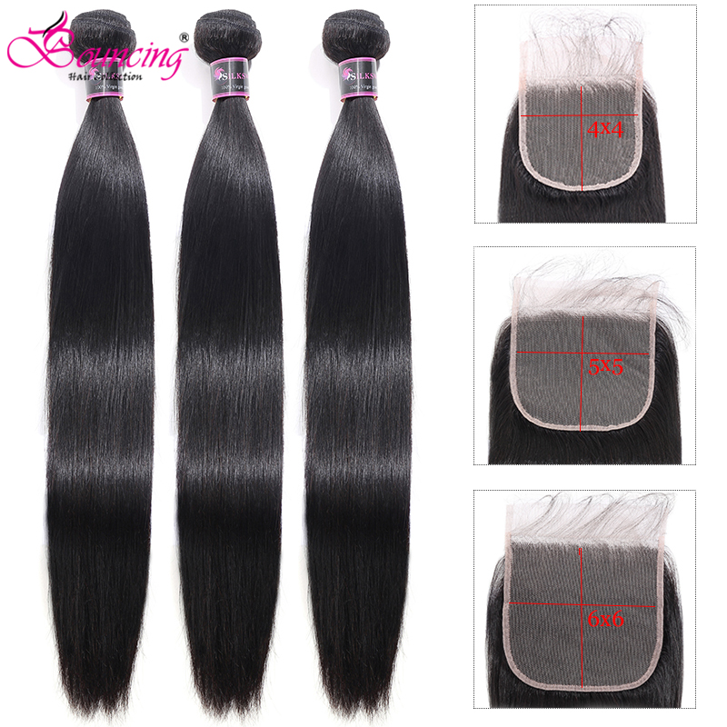 Hair Bundles With Closure Straight Human Hair 5x5 4x4Closure Peruvian Remy Hair Weave Natural Color 3Bundles With Closure