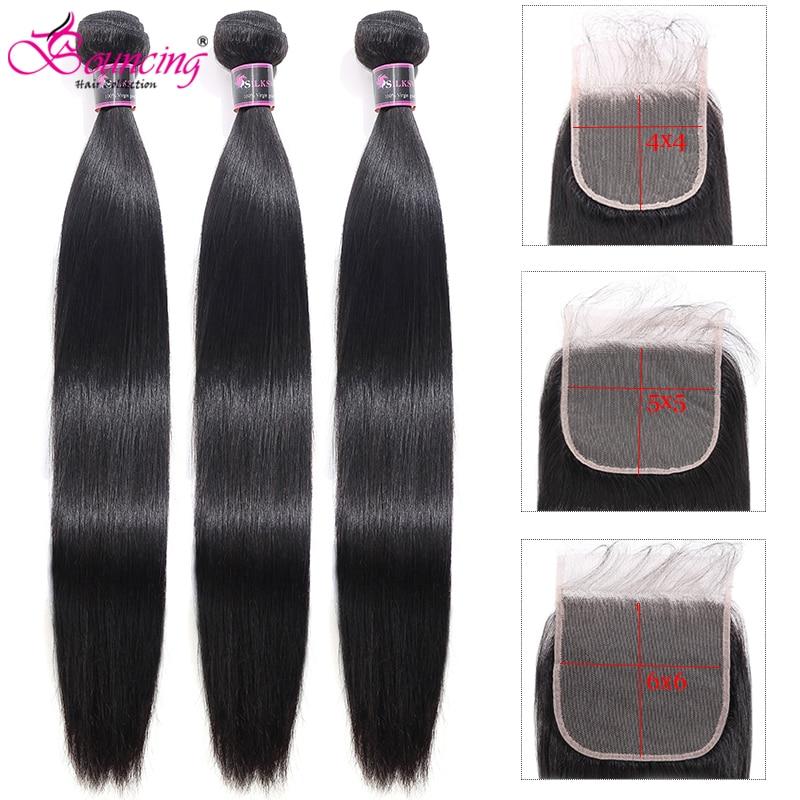 Hair Bundles With Closure Straight Human Hair 5x5 4x4Closure Peruvian Remy Hair Weave Natural Color 3Bundles With Closure