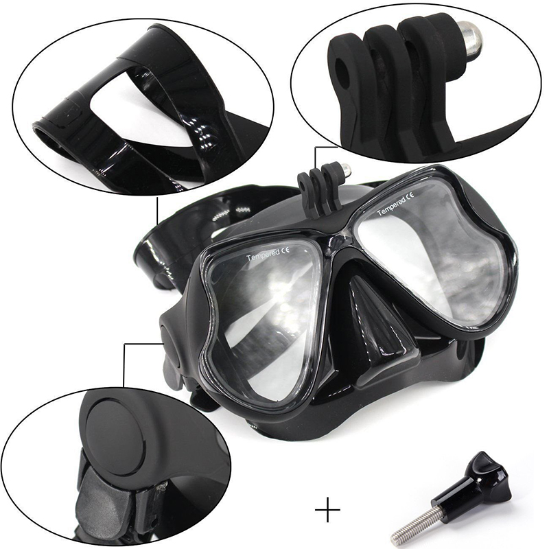 2019 new diving glasses mask adjustable anti-fog explosion-proof snorkel  Swimming Goggles for GoPro