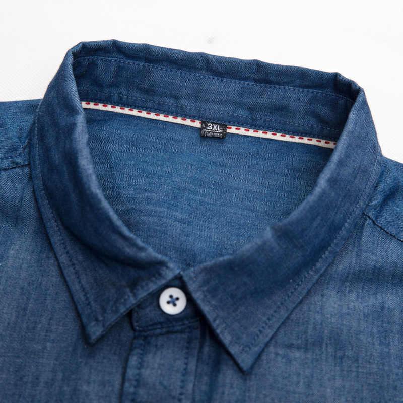 8XL 7XL Plus Size Mannen Denim Shirt Lange Mouwen Camisa Masculina Overhemd Mannen Merk Fashion Camisa Denim Hombre Jeans shirt