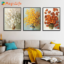 Brightly Colored Bottled Decorative Flowers Modern Wall Art Canvas Painting Nordic Poster Pictures Unframed