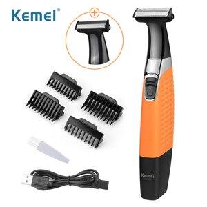 Kemei Razor Men's One Blade Pro Electric Shaver Cordless Trimmer Rechargeable Washable Face Leg Mustache Shaving Machines