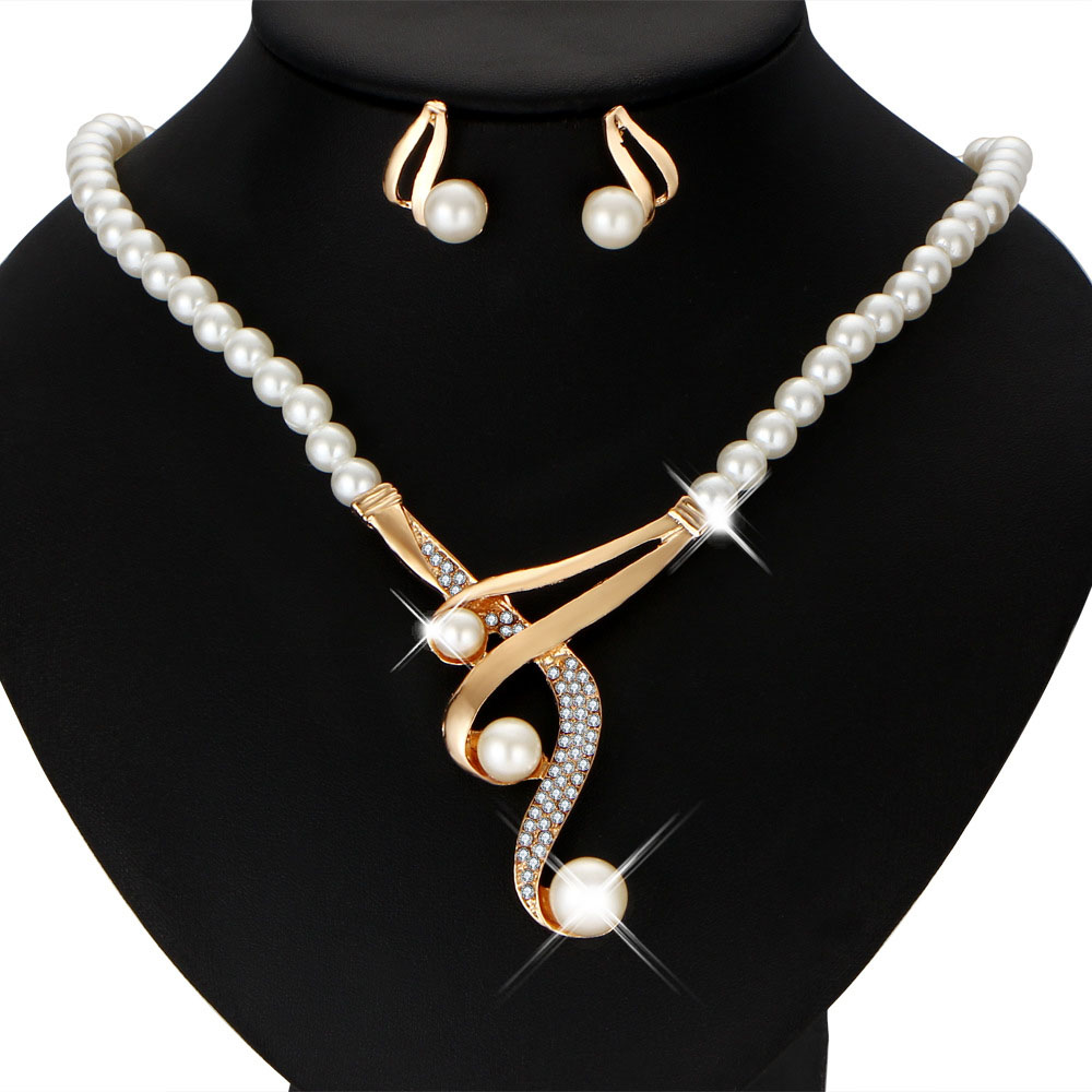 Vintage African Simulated Pearl Bridal Jewelry Sets For Women Wedding Crystal Gold Color Necklace Earrings Bracelet Set