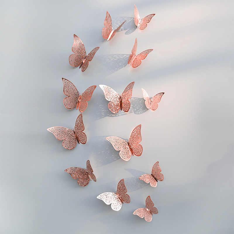 Pegatina de pared de mariposa hueca 3D DIY de oro rosa y plata de 12 Uds. Para decoración de habitación de niños y Casa, fiesta de cumpleaños y boda