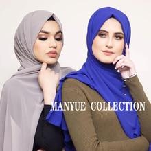 มุสลิม Hijabs ผ้าพันคอผู้หญิงธรรมดาฟองชีฟองผ้าคลุมไหล่ฮิญาบสีทึบยาว Shawls และ Wraps ผ้าพันคอสุภาพสตรี Foulard Femme