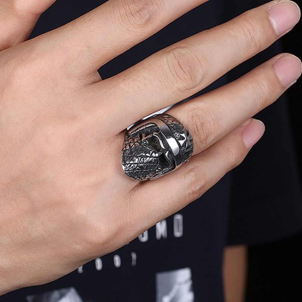 Punk rock cavaleiros men anel selo do vintage jóias masculino anéis de titânio aço inoxidável antigo prata hip hop biker banda dcr057