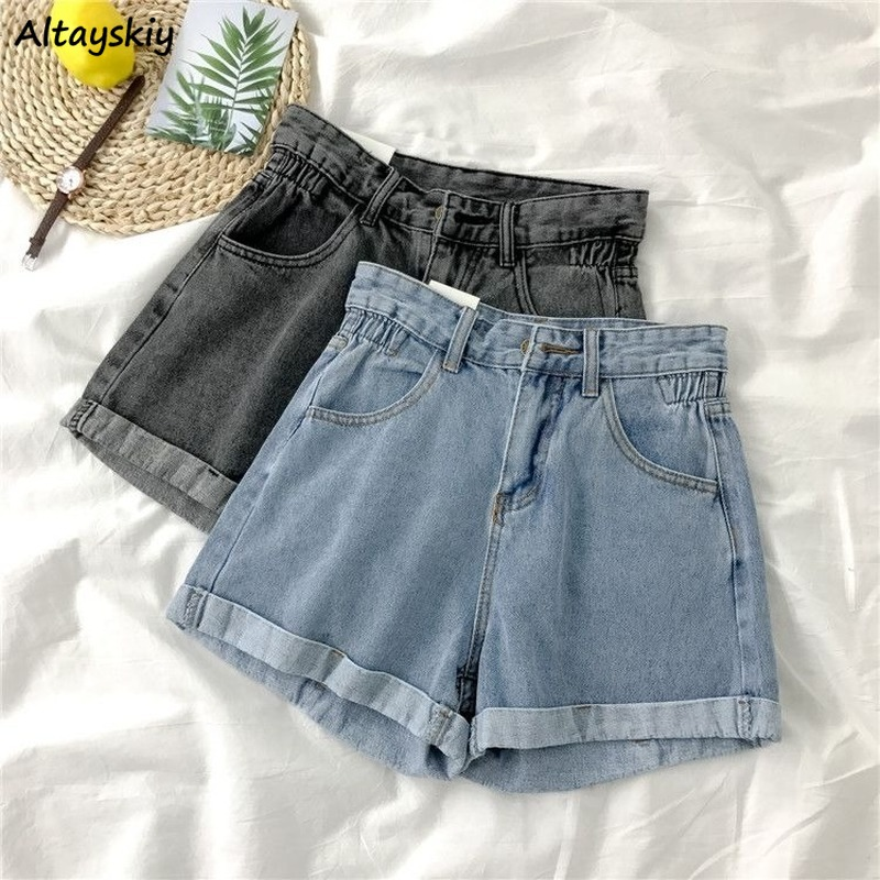 Shorts Women Korean Summer High Waist Button Vintage Leisure Simple Loose Female Chic Denim Short All-match Newest Harajuku 2020