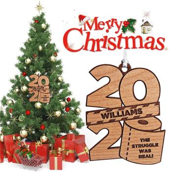 2020 Christmas Tree Ornaments Wood Quarantin Christmas Decor Pendant Ornament Commemorative Toilet Paper Ornament Chritsmas Gift image
