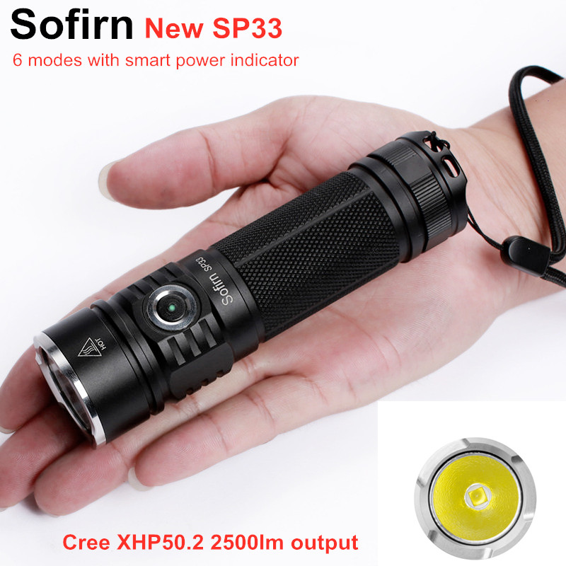 Sofirn SP33 LED Flashlight 18650 Cree XHP50 High Power 3000lm Lamp Torch Light Powerful Flashlight 26650 Waterproof Camp Cycle