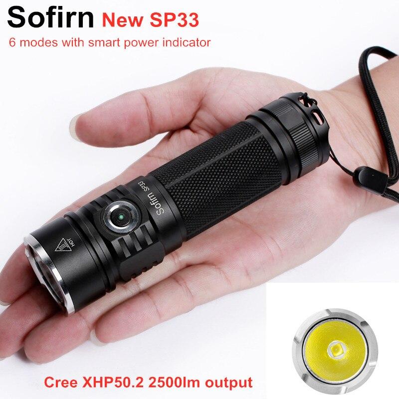 Sofirn SP33 LED el feneri 18650 Cree XHP50 yüksek güç 2500lm lamba meşale ışık güçlü el feneri 26650 su geçirmez kamp döngüsü