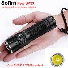 Sofirn sp33 lanterna led 18650 cree xhp50, de alta potência, 3000lm, 26650, para acampamento, à prova d água