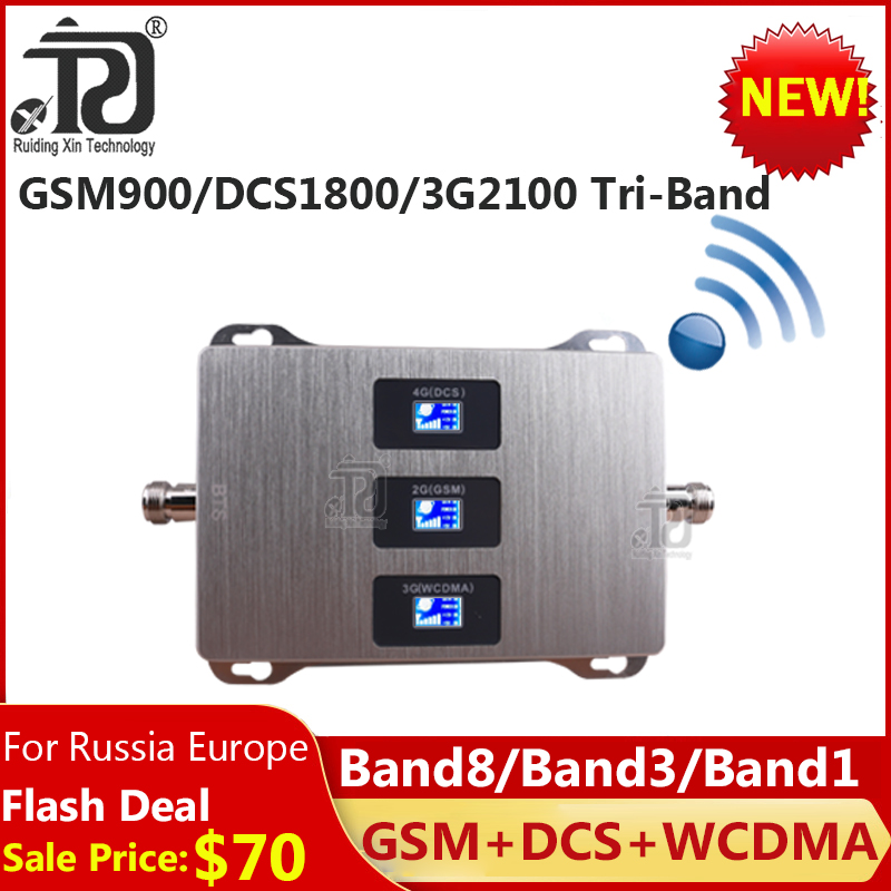 1PCS 900/1800/2100 Tri-Band Mobile Signal Booster GSM DCS WCDMA 900 1800 2100 Cellular Amplifier 4G Signal Booster Gsm Repeater