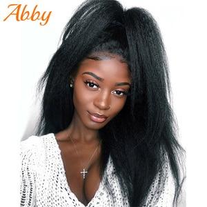 Прямые волосы Yaki 13x 4/13x6, парики из человеческих волос на сетке спереди, малазийские кудрявые прямые волосы с выщипанной линией волос, парик д...