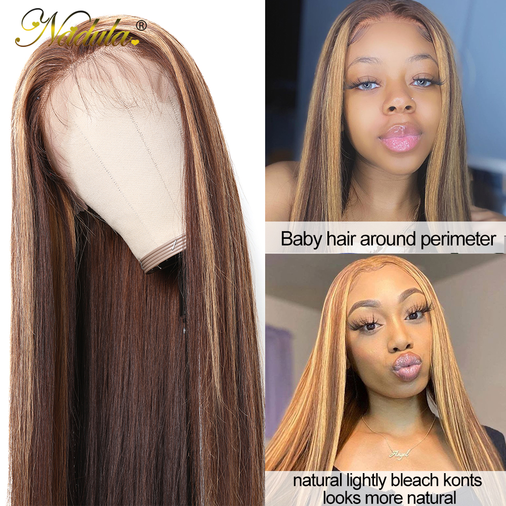 Nadula Hair 13X4 Straight Lace Front Wigs 150% /180% Density Highlight Lace Front  Wigs Virgin Hair Highlight Wig 4