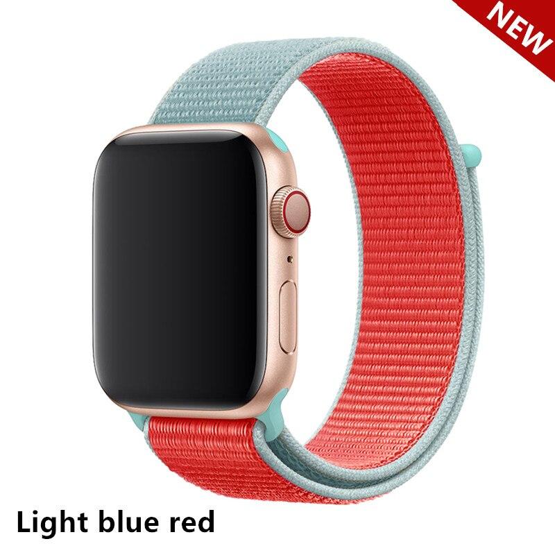 Спортивная петля ремешок apple watch band 42 мм 38 мм apple watch 4 3 band iwatch band 44 мм 40 мм correa pulseira 42 44 нейлоновый ремешок для часов - Цвет ремешка: Light blue red