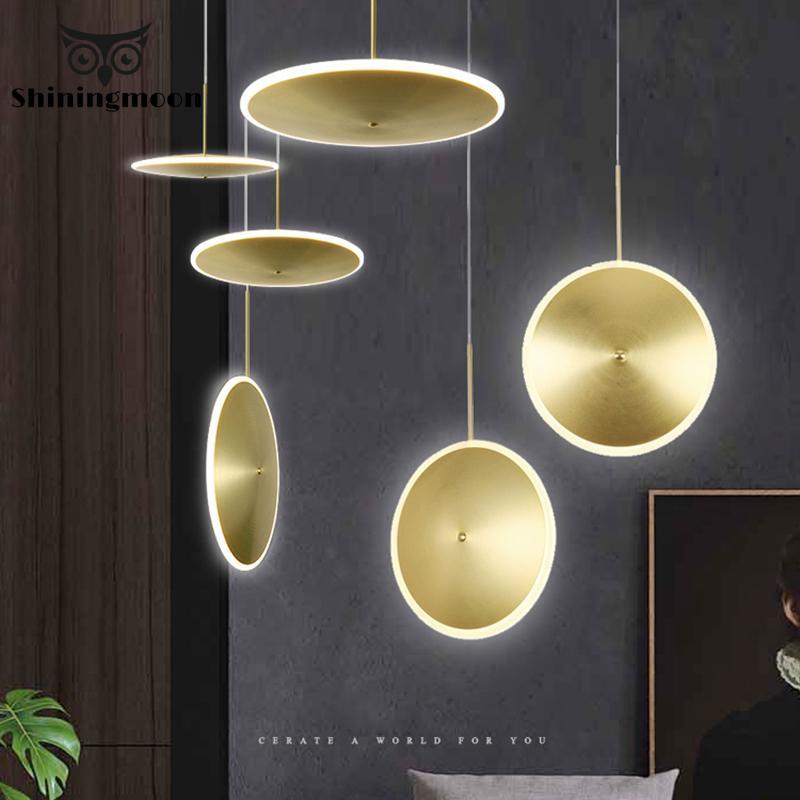 France Luxury Golden Pendant Lights Industrial Circular Acrylic Led Bar Pendant Lamp Living Room Restaurant Hanglamp Luminaria