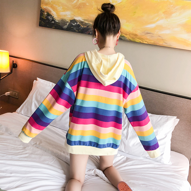 Autumn and winter rainbow stripes letter Harajuku pullover thick loose hooded sweatshirt female casual jacket album
