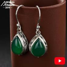 Authentic Gemstone NOT FAKE S925 Fine Jewelry Earrings 925 Sterling Silver emerald Nature Retro Exquisite waterdrop moldavite(China)