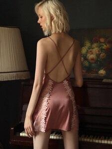 Image 2 - Пикантная Пижама, кружевная Домашняя одежда с цветами, Женская Летняя шелковая ночная рубашка на бретельках с красивой спинкой