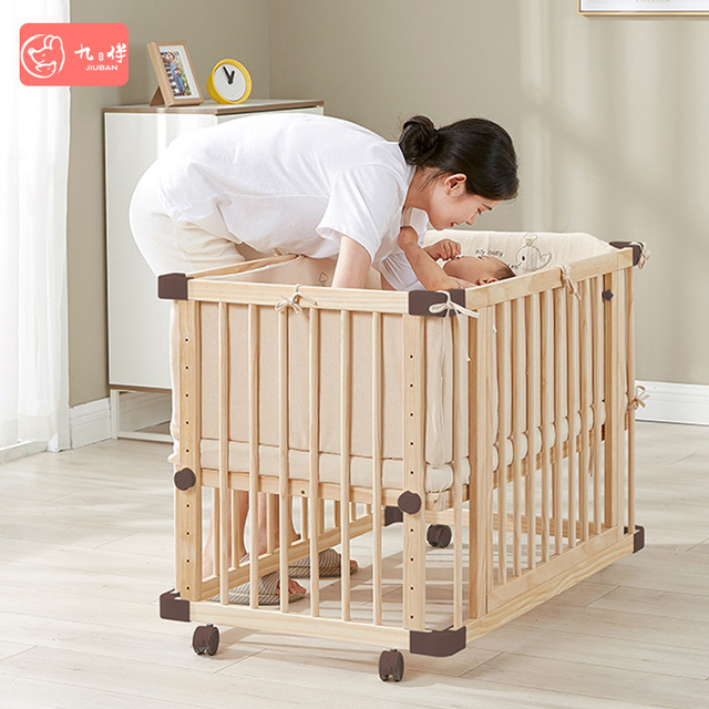 Solid Wood Baby Crib  2
