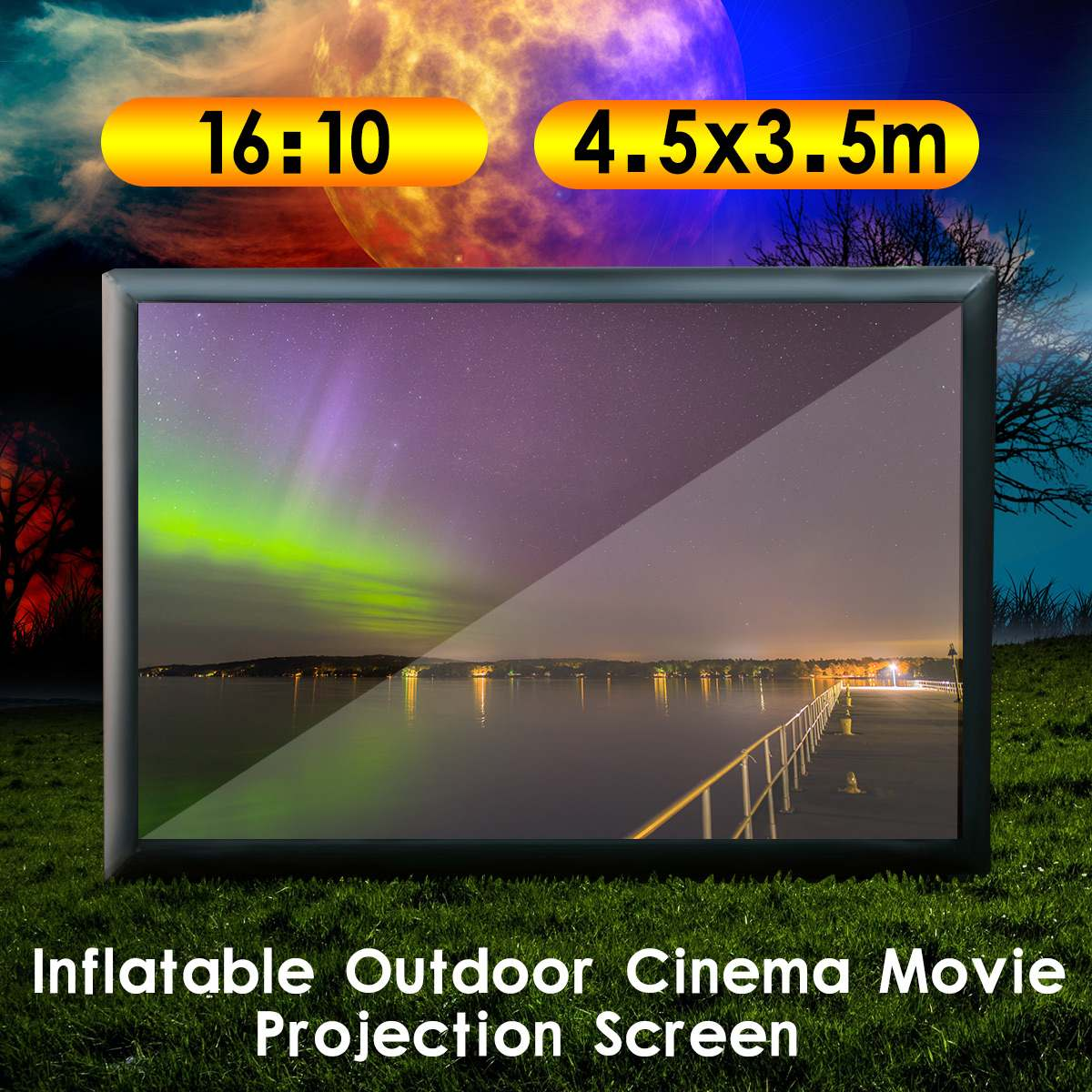 4.5x3.5M 16:10 Inflatable Movie Screen Outdoor Cinema Projection Home Theater Inflatable Film Screen with 370W Air Pump
