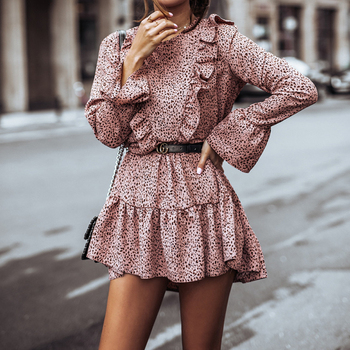 Autumn Long Sleeve Print Ruffles Dress Women Casual Round Neck Loose Mini Dresses Female Spring Elegant A Line Party Vestidos halloween style new women s loose dress with big pocket casual print long sleeve o neck party straight vestidos spring autumn