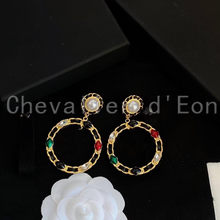 Chevalier d'Eon Luxury Pearl Round Circle Earrings Women Wedding Bridal Party Engagement Earrings Jewelry Party Gift