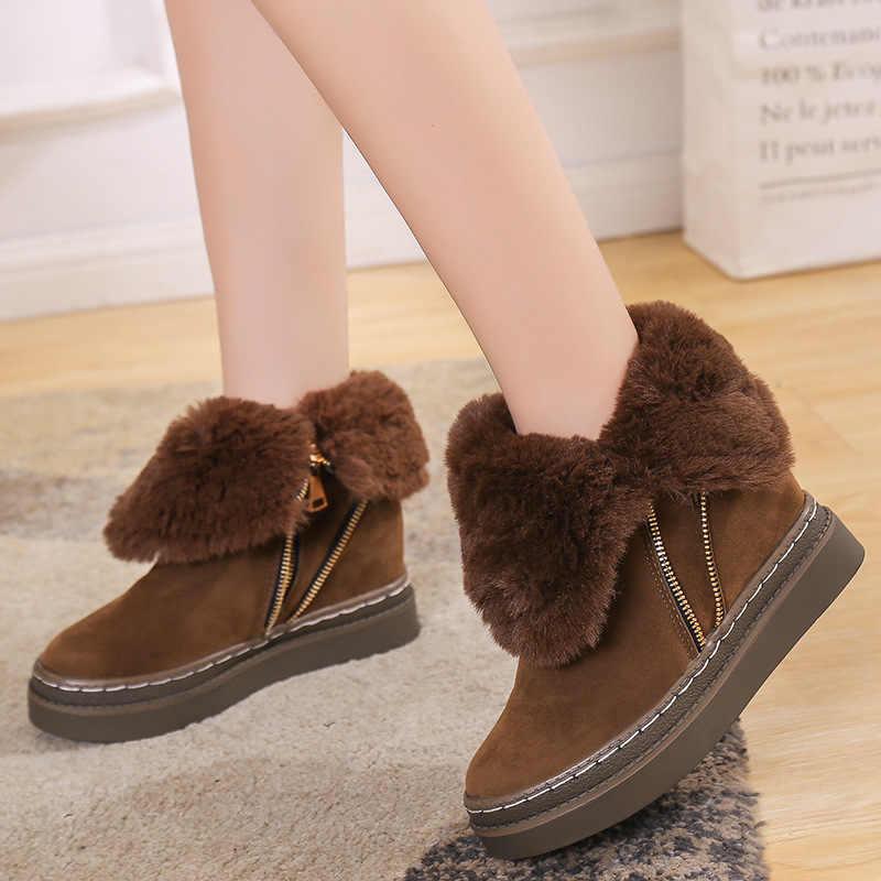 Zip platformu kar botları kadın flanş rahat kürk kadın kış ayakkabı için sıcak kısa peluş deri yarım çizmeler kadınlar için VT308