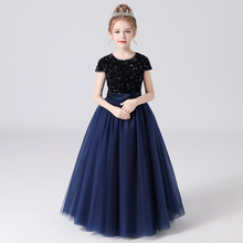 Formal-Dresses Glitter Puffy Tulle Sequins Junior Long-Sleeves Birthday-Party Girls Kids