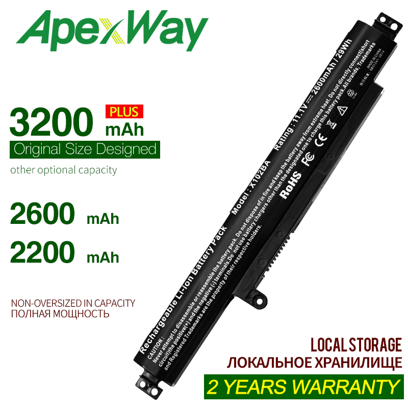 ApexWay 3200mAh 11.1V  Laptop Battery A31N1311 For ASUS For VivoBook X102BA-DF1200 X102BA-HA41002F