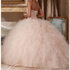 Image 2 - ライトピンク 16 ドレス大人のドレスノースリーブ夜会服フリルビーズスパンコールレースアップ格安誕生日パーティードレス