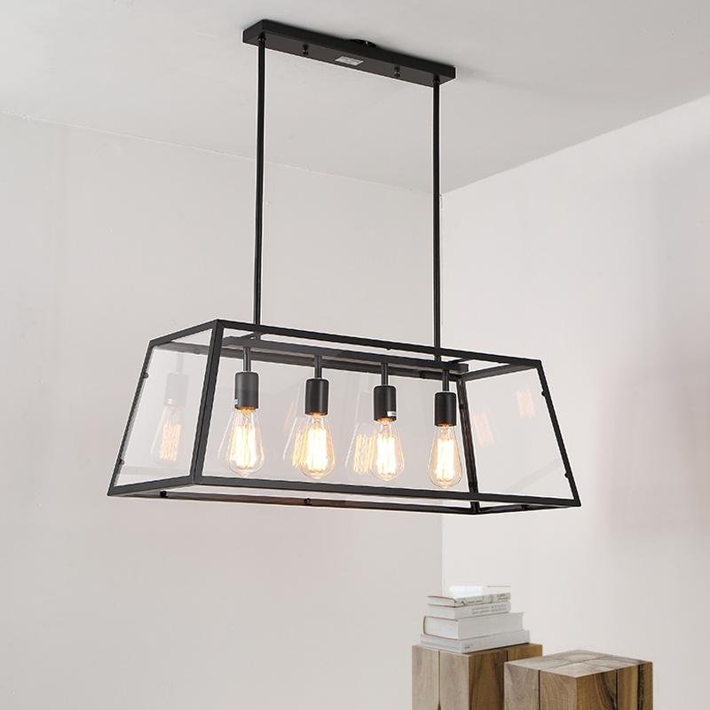 Vintage LED Lamps Loft Retro Iron Acrylic Box Pendant Lights Restaurant Rectangular Dining Living Room Cafe Lighting Fixtures