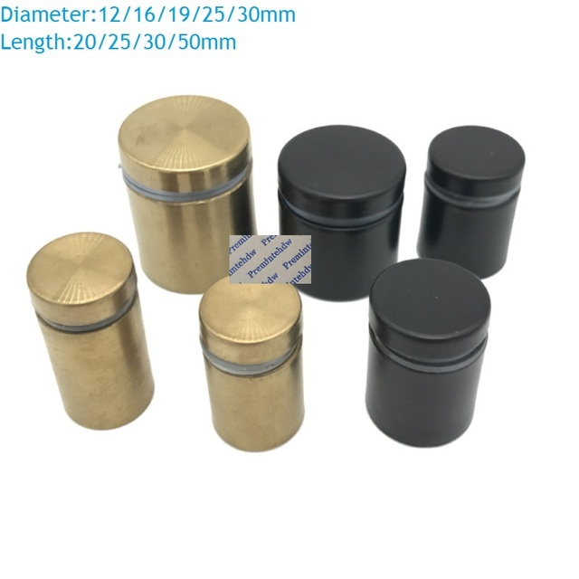 20Pcs/Lot Stainless Steel Barrel Advertising Sign Standoff Spacer Glass Acrylic Stand Off Matte Black Brushed Gold