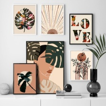 Wall Art Canvas Painting Abstract Girl Monstera Flower Love Quotes Nordic Posters And Prints Wall Pictures For Living Room Decor abstract girl figure leaves flower boho wall art canvas painting nordic posters and prints wall pictures for living room decor