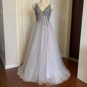 Image 3 - 2020 High Split Sexy V Neck Prom Dresses Tulle A Line Long vestidos de Formal Party Backless Elegant gala jurken Evening Gowns