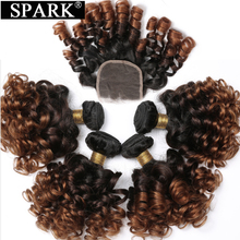SPARK Human Hair Ombre Loose Bouncy Curly Bundles With Closure Brazilian Hair Weave Bundles With Closure Human Hair Extensions