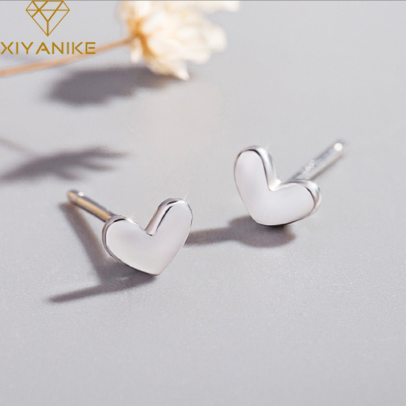 XIYANIKE 925 Sterling Silver Prevent Allergy Stud Earrings For Women New Fashion Simple Small Earrings Heart  Jewelry