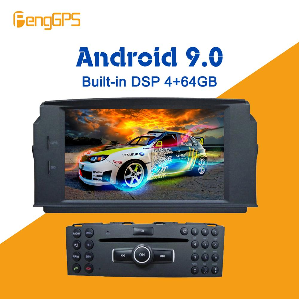 <font><b>Android</b></font> 9.0 4+64GB Built-in DSP Car multimedia DVD Player GPS Radio For Mercedes Benz C200 C180 <font><b>W204</b></font> 2007-2010 GPS <font><b>Navigation</b></font> image