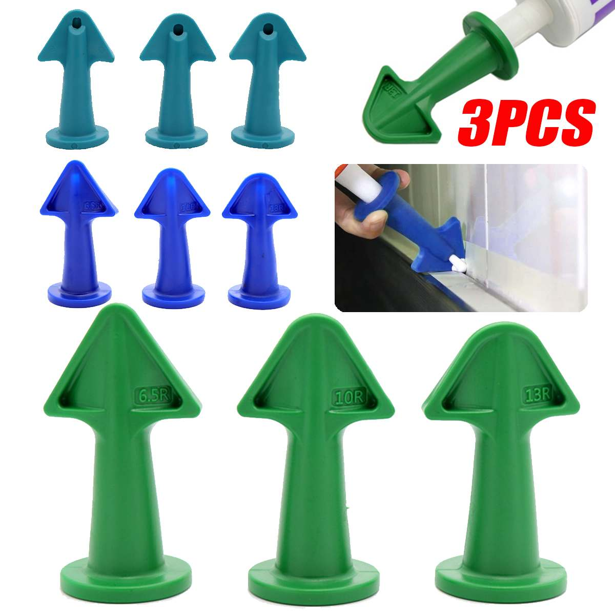 3 Colors Glue Nozzle Scraper Caulking Grouting Sealant Finishing Clean Remover Tool 3pcs/Set Scraper 6.5R+10R+13R