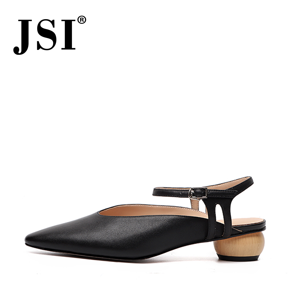 JSI Office Elegant Women Pumps Summer High Quality Cow Leather Ankle Buckle Strap Pointed Toe Shoes Concise Handmade Pumps JO475