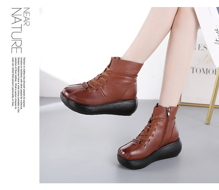 Xiuteng New GenuineLeather Ankle Boots Women Flat Snow Lace-UP Boots Winter Warm Plush Waterproof Woman Platform Shoes Plus Size