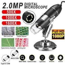 Регулируемый 1600X 2MP 1080P 8 светодиодный цифровой микроскоп Type-C/Micro лупа USB электронный стерео USB эндоскоп для телефона ПК Промокод: NEZABIVAYMASKU Скид...