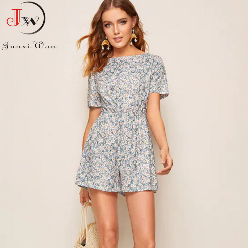 2020 Summer Jumpsuit Women Floral Print Short Sleeve Sexy Back Bow-knot Shorts Beach Romper Party Playsuit Ropa Mujer