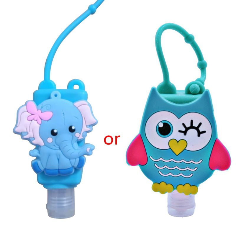 30ML Embossed Cute Colored Cartoon Owl Shape Silicone Mini Hand Sanitizer Disposable No Clean Detachable Cover Travel Hand Soap