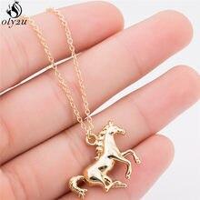 Oly2u personalizar corrida cavalo pingente colar para as mulheres bonito animal colares masculino jóias acessórios melhor presente de aniversário