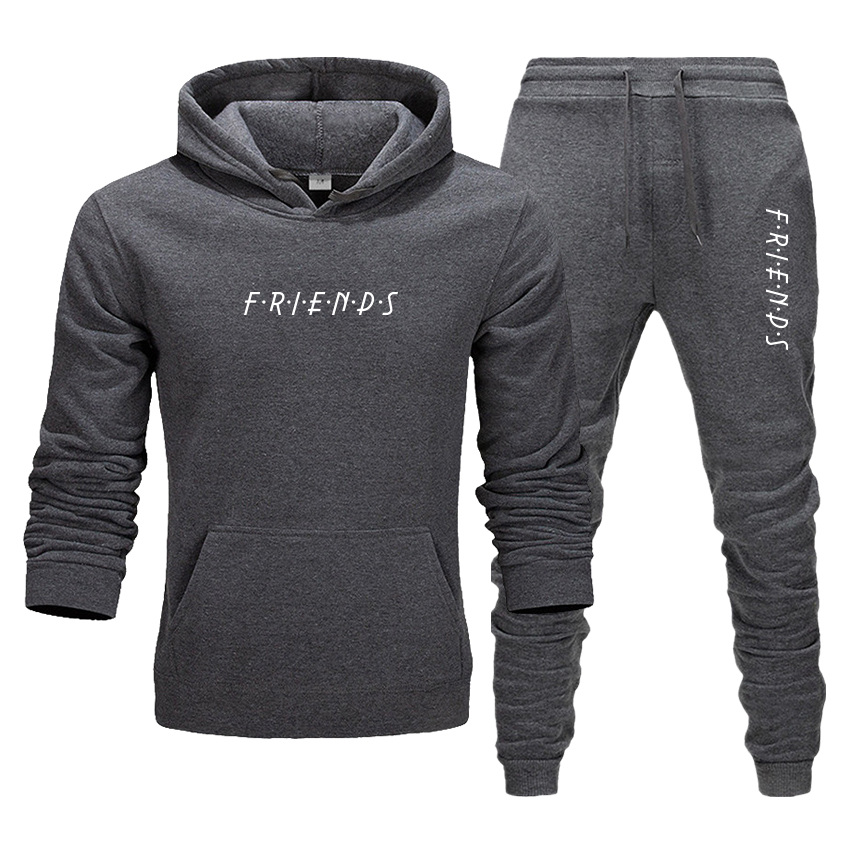 Men's Hoodies And Pants Suit English Printing Friends Sportswear Running Tracksuit Casual Sports Autumn Winter Set